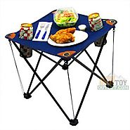 Folding Camping Table Folding Table with Drink Holders and Carry Bag (Blue)