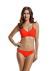 Zeraca Women's Strap Side Bottom Halter Racerback Bikini Bathing Suits
