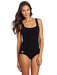 Speedo Women's Endurance+ Shirred Tank One-Piece Swimsuit