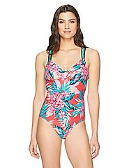 Coastal Blue Women's Active Swimwear Strappy Back One Piece Swimsuit, Lua Tropics, XS (0-2)