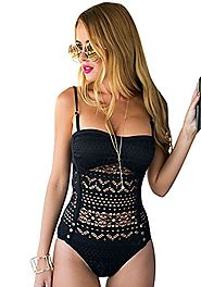 LookbookStore Women's Black Crochet Lace Halter Straps Swimsuits Swim Bathing Suit US 14