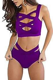 Prograce Sexy Front Cross Hollow Out V Neck Bandage Beachwear Set For Women Purple L