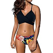 Women's sexy Low waist Bandage Bikini beachwear swimsuit Black-S