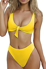 ESONLAR Women Sexy Knotted Front Cropped Top Bikini Sets Thong Swimsuit Yellow XL