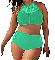 EVALESS Womens Stylish Patterned High Waisted Bikini Set Swimsuit X-Large Size Green