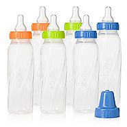 Evenflo Feeding Classic Twist Clear Bottles, Green/Blue/Orange, 8 Ounce (Pack of 12)