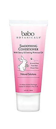 Babo Botanicals Smoothing Conditioner, Berry Primrose, 6 Ounce - Natural Conditioner, Detangles Curls, Organic Ingred...