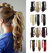 Wrap Around Synthetic Ponytail Clip in Hair Extensions One Piece Magic Paste Pony Tail Long Wavy Curly Soft Silky for...