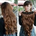 Vktech Width 25cm Lady Sexy Stylish Long Curl Wavy Clip-on Hair Extension Light Brown