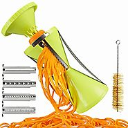 Brieftons NextGen Spiralizer: 4-Blade Vegetable Spiral Slicer, 150% Bigger, 50% Less Wastage, Perfect Veggie Spaghett...