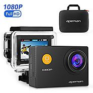 APEMAN Action Camera, 12 MP Full HD 1080P Waterproof Underwater Cam with 170 Wide-Angle Lens and Rechargeable Battery...