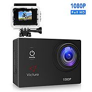 Victure Action Camera 1080P 12MP Waterproof Sports Camera 30M Underwater Diving Camera Action Cam with 170 Wide Angle...