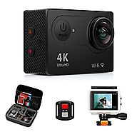 FITFORT Action Camera 4K WiFi Ultra HD Waterproof Sport Camera 2 Inch LCD Screen 12MP 170 Degree Wide Angle 2 Recharg...