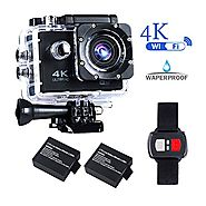 BrosFuture 4k Action Camera with Wifi 30M Waterproof Sports Camera and 2.4G Remote Contral /2 pcs Rechargeable Batter...