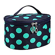 DZT1968® Handle Round Dot Large Cosmetic Bag Travel Makeup Organizer Case Holder With Mirror (Green)