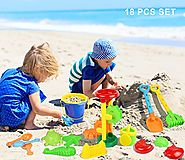 Click N Play 18 Piece Beach sand Toy Set, Bucket, Shovels, Rakes, Sand Wheel, Watering Can, Molds,