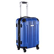 "Goplus GLOBALWAY Expandable 20"" ABS Carry On Luggage Travel Bag Trolley Suitcase (Blue)"