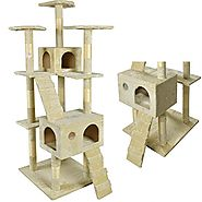 BestPet New Cat Tree Scratcher Play House Condo Furniture Toy Bed Post Pet House, 73-Inch, Beige
