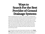 Ways to Search For the Best Provider of Ground Drainage Systems
