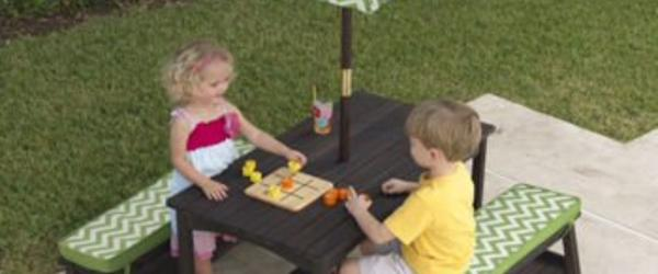 Headline for Affordable Kids Outdoor Picnic Table With Umbrella and Benches On Sale