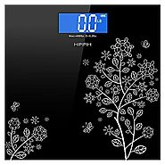Hippih 400lb / 180kg Electronic Bathroom Scale with Tempered Glass Balance Platform and Advanced Step-On Technology, ...