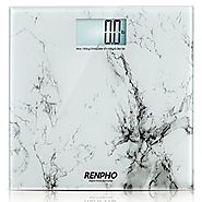 RENPHO High Accuracy Digital Bathroom Scale 400lb 180kg with Elegant Marble Pattern, Regular Size - White Marble