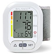 Balance Wrist Blood Pressure Monitor, Ultra Portable High Accuracy Readings with Easy-to-Read LCD, Two User Support a...