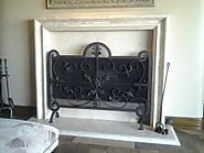 Hand Wrought Iron Freestanding Mesh Screen Fireplace
