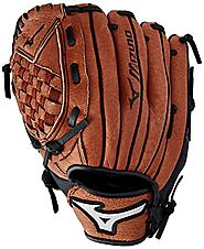 "Mizuno Prospect Baseball Glove, Chestnut, Youth/Kids, 10"", Worn on right hand"