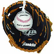 "Franklin Sports RTP Teeball Performance Gloves & Ball Combo, Black/Tan, 9.5"", Right Hand Throw"