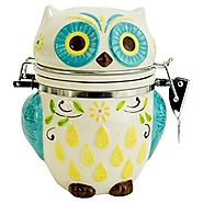Boston Warehouse Hinged Jar with Floral Owl Design - Kitchen Things
