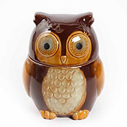 "Gibson Home Cookie Hoot 7.5"" Owl Cookie Jar Reactive Stoneware - Kitchen Things"