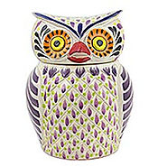 Majolica ceramic cookie jar, 'Purple Owl' - Kitchen Things