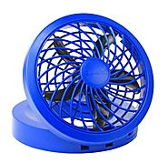 "O2COOL 5"" Portable USB or Electric Fan, Blue"
