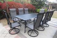 9pc Cast Aluminum Swivel Patio Set with Slat Top Table - Black