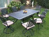 Outdoor Cast Aluminum Patio Furniture 9 Piece Dining Set KR all Swivel Rockers CBM1290