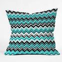 Turquoise Black White Chevron Throw Pillow