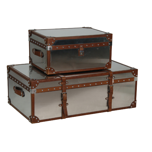 S/2 STAINLESS STEEL TRUNKS