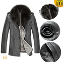 Mens Shearling Sheepskin Leather Fur Lined Coat Grey CW877211
