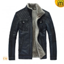 Blue Fur Lined Leather Jacket CW819421 - JACKETS.CWMALLS.COM