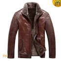 Fur Lined Mens Leather Jacket CW819064 - JACKETS.CWMALLS.COM