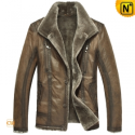 Mens Designer Fur Lined Leather Jacket CW819427 - CWMALLS.COM