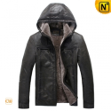Mens Fur Lined Leather Hooded Jacket CW829676 - CWMALLS.COM