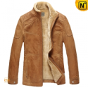 Mens Fur Lined Leather Jacket CW829120 - CWMALLS.COM