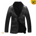 Black Fur Lined Leather Blazer Jackets CW833211 - CWMALLS.COM