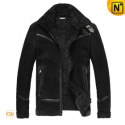 Mens Fur Lined Leather Jacket CW819329 - CWMALLS.COM