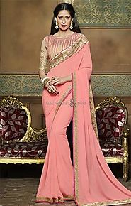 Gorgeous Peach Embroidered Georgette Bollywood Amrita Rao Saree