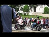 Marine and Wounded Veteran salute during Rolling Thunder
