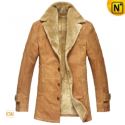 Mens Slim Fur Lined Leather Trench Coat CW833212 - CWMALLS.COM