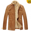 Mens Fur Lined Leather Jacket CW829120 - JACKETS.CWMALLS.COM
